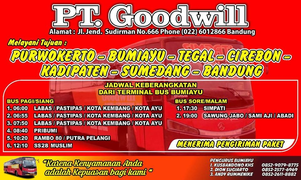 Jadwal dan Tarif Tiket bus Goodwill Bandung - Tegal ...